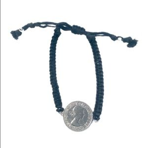 Braided Adjustable Bracelet with Coin Pendant